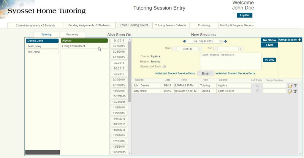 Tutors create new and view existing sessions